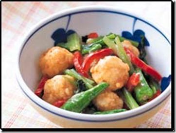 いか団子と小松菜のサラダ